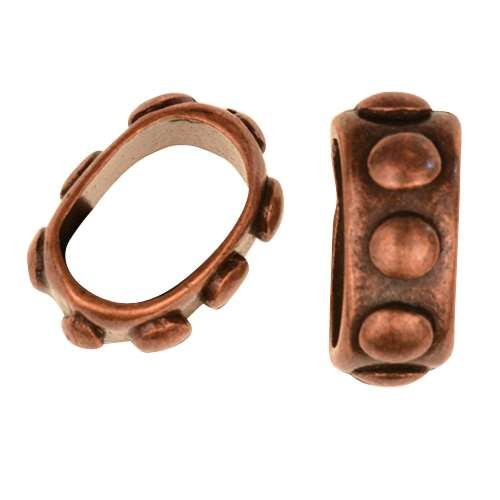 Regaliz Bumpy 10mm Oval Leather Cord Slider - Antique Copper