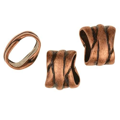 Regaliz Ribbon Wrap 10mm Oval Leather Cord Slider - Antique Copper