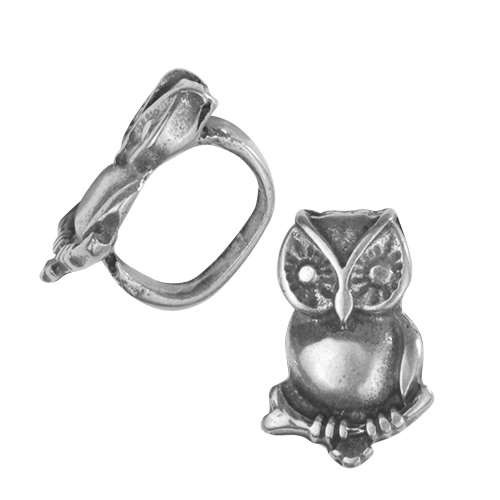 Regaliz Small Owl 10mm Oval Leather Cord Slider - Antique Silver