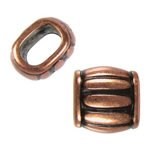 Regaliz Wine Barrel 10mm Oval Leather Cord Slider - Antique Copper