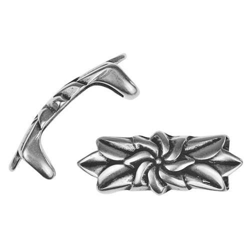 Regaliz Flower & Leaves 10mm Oval Leather Cord Slider - Antique Silver
