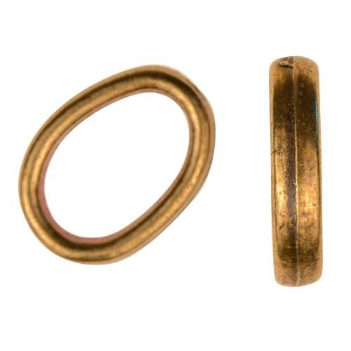 Regaliz Oval Slice Ring 10mm Oval Leather Cord Slider - Antique Brass