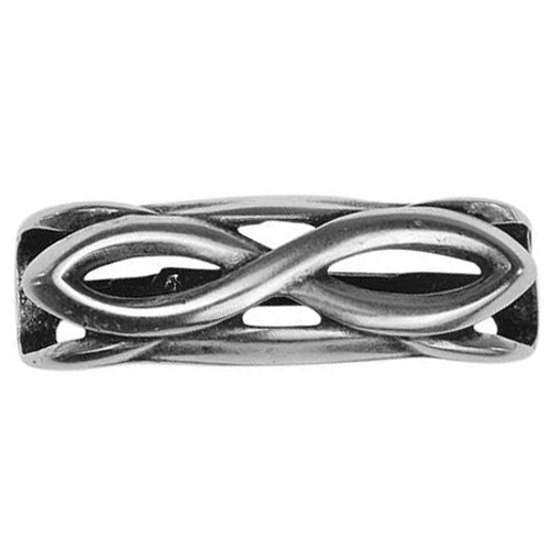 Regaliz Infinity 10mm Oval Leather Cord Slider - Antique Silver