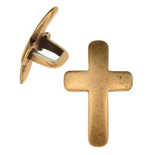 Regaliz Curved Cross 10mm Oval Leather Cord Slider - Antique Brass