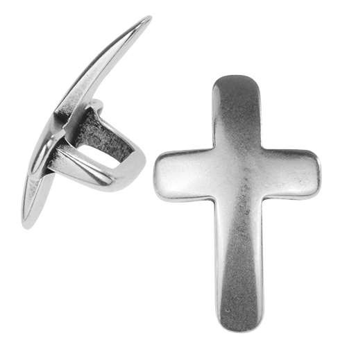 Regaliz Curved Cross 10mm Oval Leather Cord Slider - Antique Silver