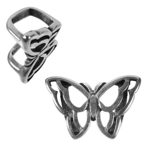 Regaliz Open Butterfly 10mm Oval Leather Cord Slider - Antique Silver