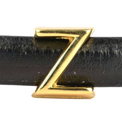 "Regaliz Letter ""Z"" or ZETA 10mm Oval Leather Cord Slider - Gold Plate"