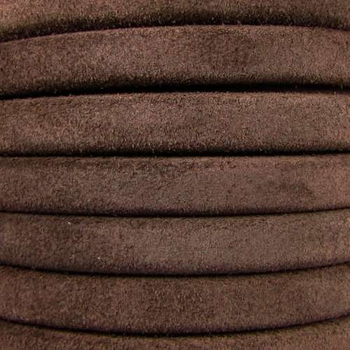 Regaliz Suede 10mm Leather Oval Cord - Brown