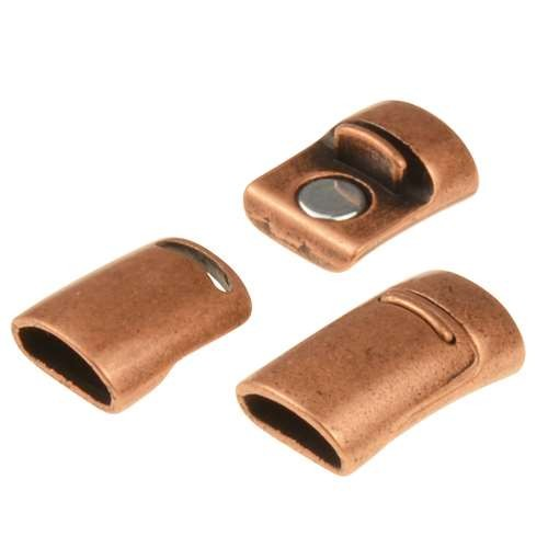 Mini Regaliz 10x4mm Oval Leather Cord Magnetic Clasp - Antique Copper