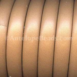 Mini Regaliz 10mm Oval Leather Cord - Light Brown - per inch