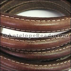 Mini Regaliz Stitched 10mm Oval Leather Cord - Medium Brown - per inch
