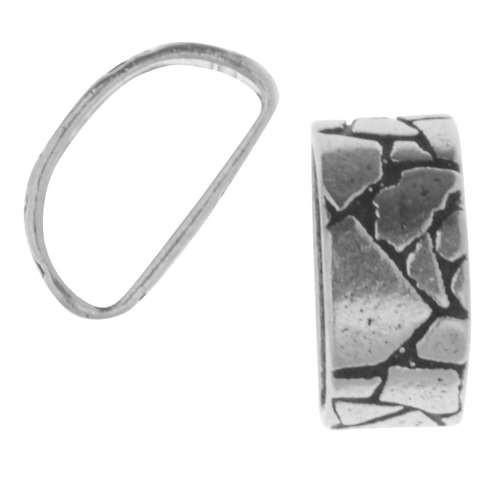 Mini Regaliz Wide Mosaic 10x4mm Oval Leather Cord Slider - Antique Silver