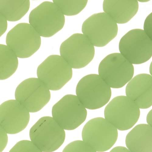 Cultured Sea Glass Bead Round 4mm - Opaque Spring Green