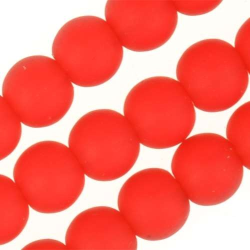 Cultured Sea Glass Bead Round 6mm - Cherry Red