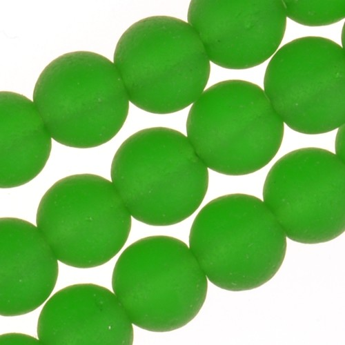 Cultured Sea Glass Bead Round 6mm - Shamrock