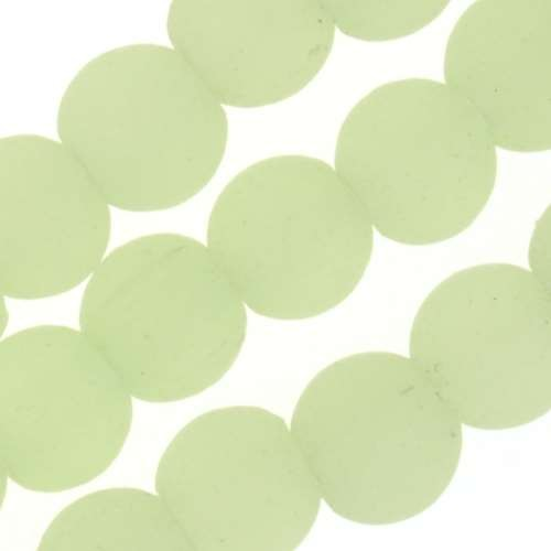 Cultured Sea Glass Bead Round 6mm - Opaque Spring Green