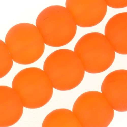 Cultured Sea Glass Bead Round 6mm - Tangerine