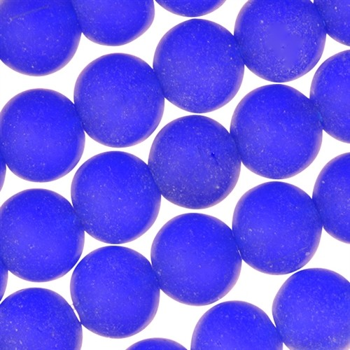 Cultured Sea Glass Bead Round 8mm - Royal Blue