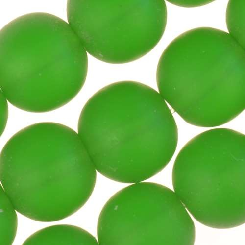 Cultured Sea Glass Bead Round 10mm - Shamrock