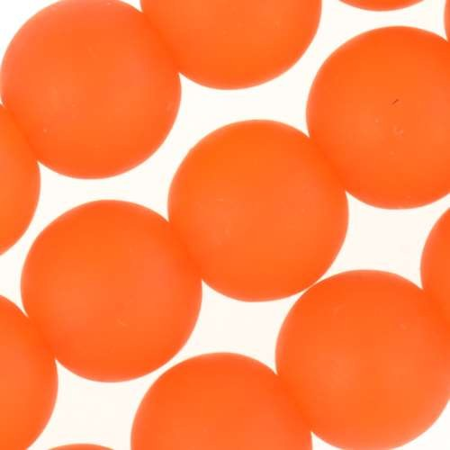 Cultured Sea Glass Bead Round 10mm - Tangerine