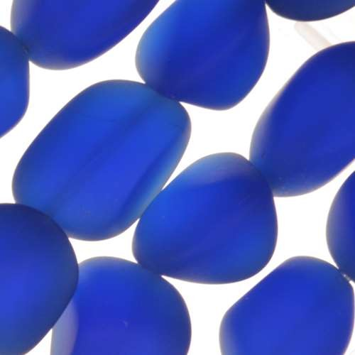 Cultured Sea Glass Bead Nugget Small 10-15mm - Royal Blue