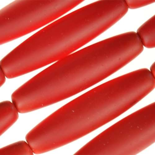 Cultured Sea Glass Bead Tube 30x8mm - Dark Ruby Red