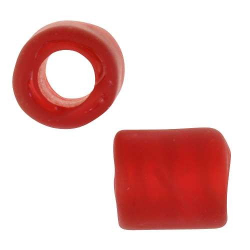 Cultured Sea Glass Bead Tube Large Hole 12x10mm - Cherry Red