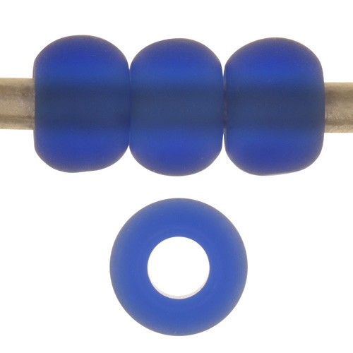 Cultured Sea Glass 5mm Rondelle Bead Round Leather Cord Slider - Royal Blue