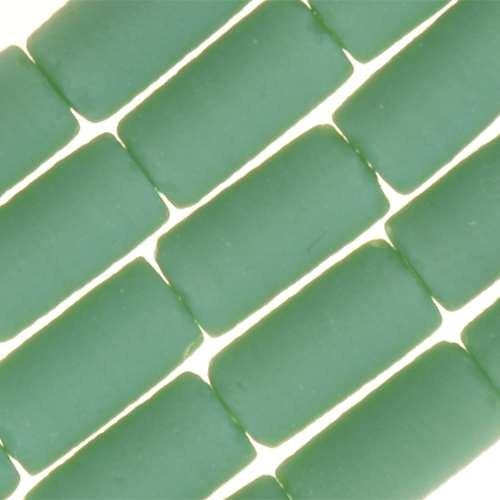 Cultured Sea Glass Bead Tube 9x4mm - Opaque Turquoise