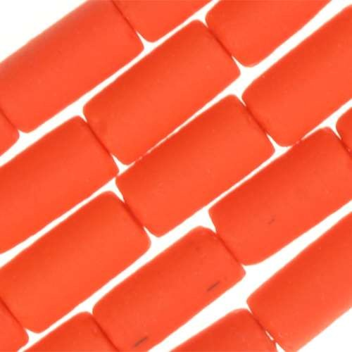 Cultured Sea Glass Bead Tube 9x4mm - Opaque Orange