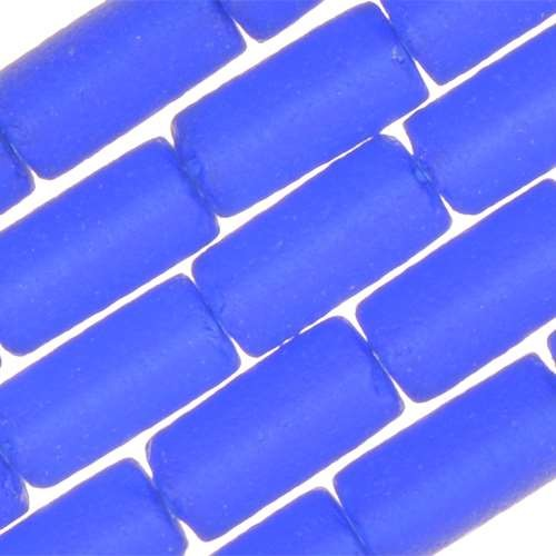 Cultured Sea Glass Bead Tube 9x4mm - Royal Blue
