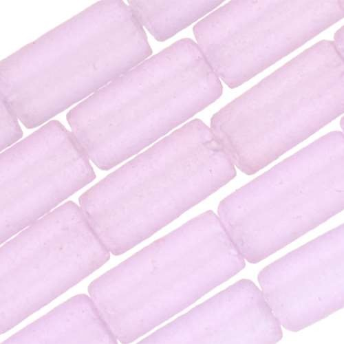 Cultured Sea Glass Bead Tube 9x4mm - Periwinkle