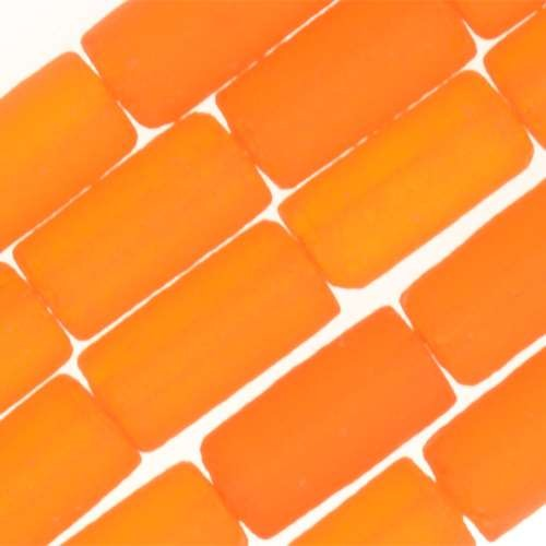Cultured Sea Glass Bead Tube 9x4mm - Tangerine