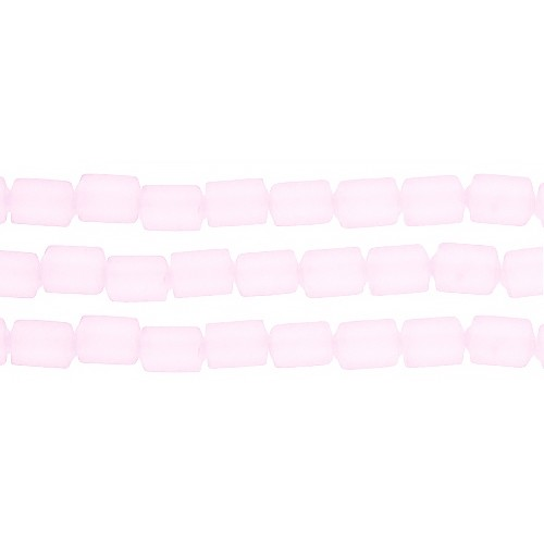 Cultured Sea Glass Bead Tube 6x4mm - Blossom Pink