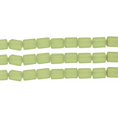 Cultured Sea Glass Bead Tube 6x4mm - Peridot
