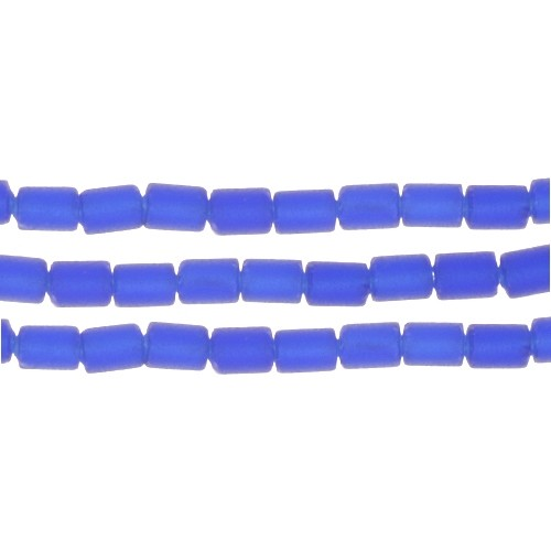 Cultured Sea Glass Bead Tube 6x4mm - Royal Blue