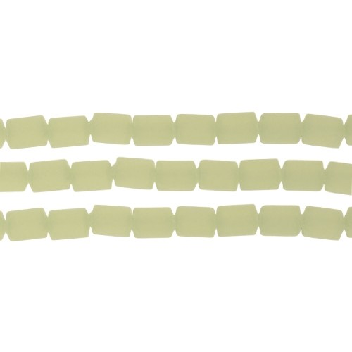 Cultured Sea Glass Bead Tube 6x4mm - Opaque Seafoam Green