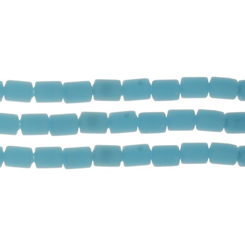 Cultured Sea Glass Bead Tube 6x4mm - Opaque Blue Opal