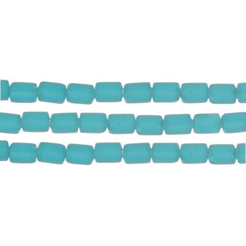 Cultured Sea Glass Bead Tube 6x4mm - Teal