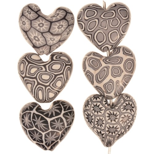 Samunnat Bead Heart - Black / White / Grey