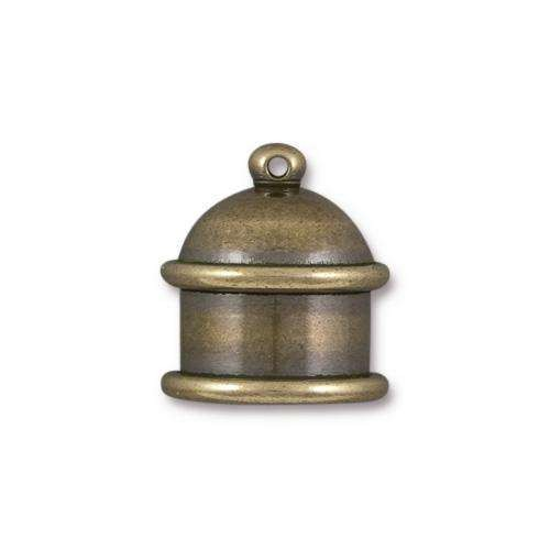 TierraCast Cord End Cap Pagoda 10mm (2) - Antique Brass
