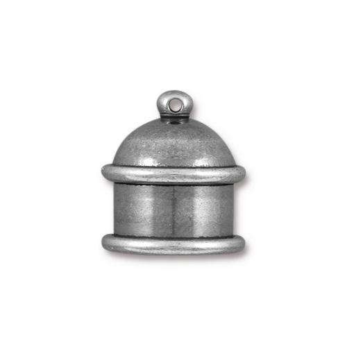 TierraCast Cord End Cap Pagoda 10mm (2) - Antique Silver
