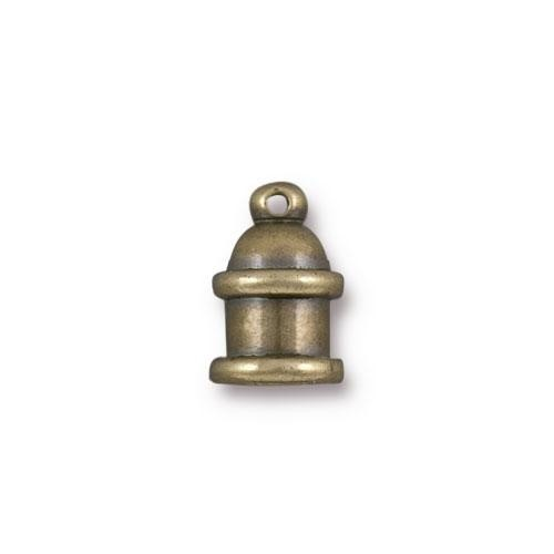 TierraCast Cord End Pagoda 4mm (2) - Antique Brass