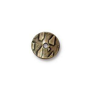 TierraCast Bead 10mm Wavy Disk - Antique Brass