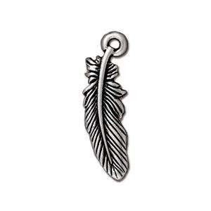 TierraCast Charm Small Feather - Silver Plate