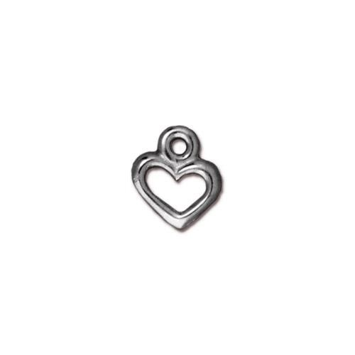 TierraCast Charm Open Heart - Antique Silver