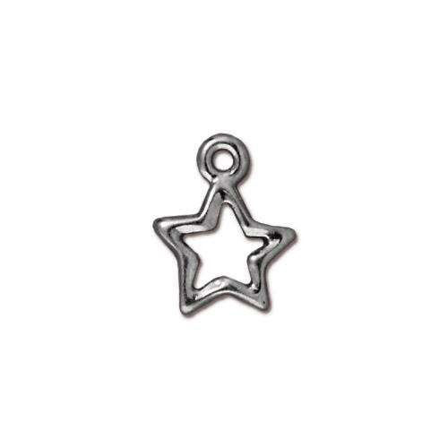 TierraCast Charm Open Star - Silver Plated