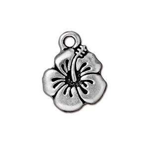 TierraCast Charm Hibiscus - Silver Plate