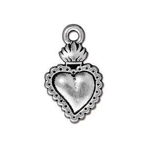 TierraCast Charm Heart Milagro - Silver Plate