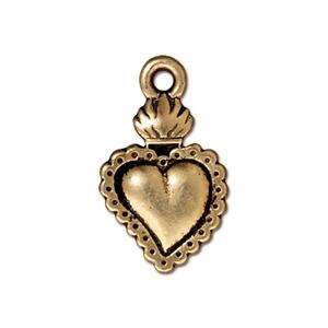 TierraCast Charm Heart Milagro - Antique Gold